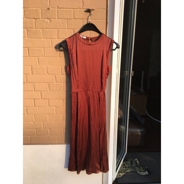 Schickes Kleid cocktail Abend orange schick Business Feier Abschluss braun Seide Look silky Midi beinschlitz leicht fallend
