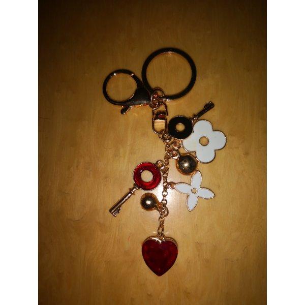 Schlüssel-/Taschenanhänger golden mit Herz Blumen Schlüssel NEU