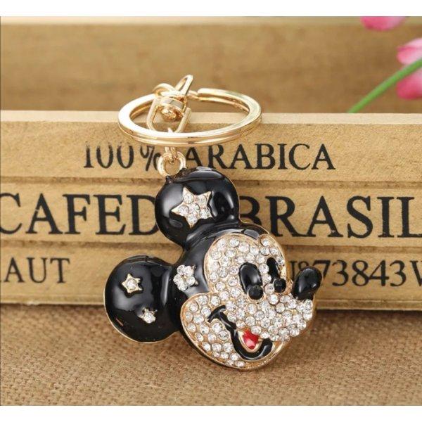 Schlüssel-/Taschenanhänger Maus, Mickey Mouse aus Metall, Strass, rosa/gold NEU