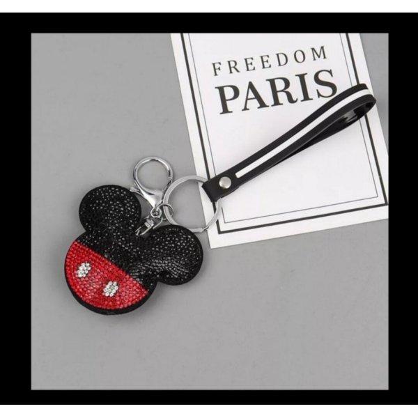 Schlüssel-/Taschenanhänger Maus, Mickey Mouse aus Stoff, Strass, schwarz/gold/rot NEU