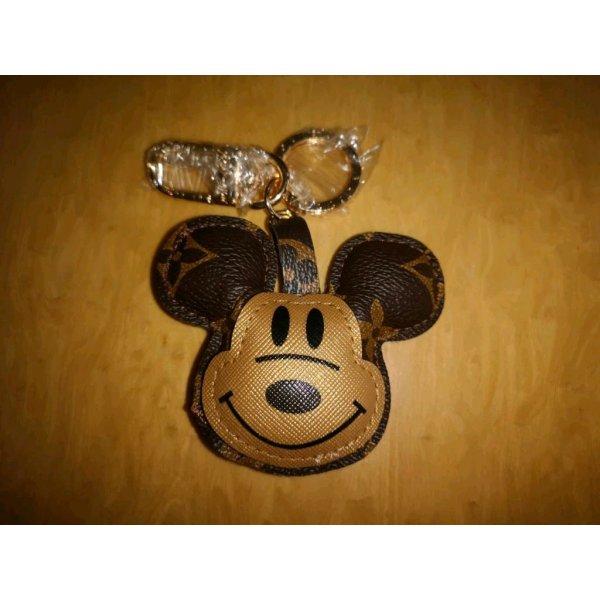 Schlüssel-/Taschenanhänger Maus Mouse braun Gold mit Blumen NEU
