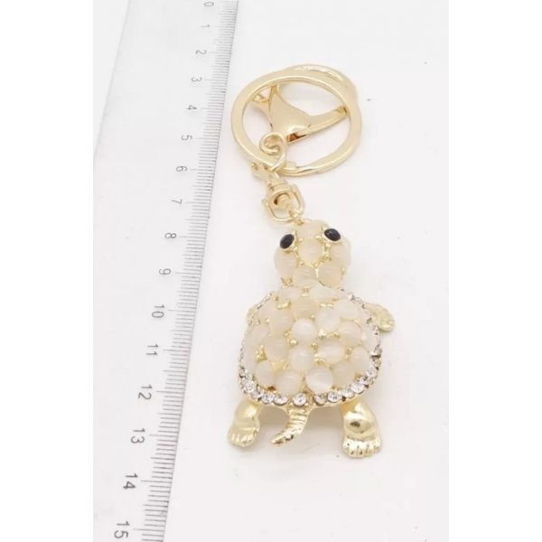 Schlüssel-/ Taschenanhänger Schildkröte aus gold mit Steinen NEU