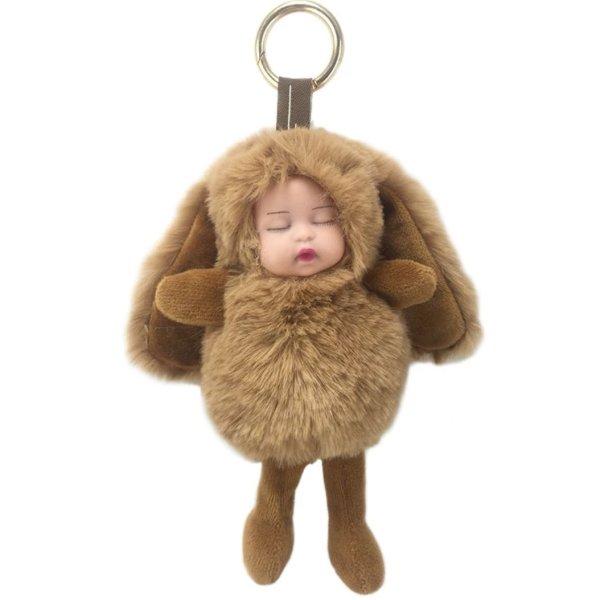 Schlüssel -/Taschenanhänger schlafende Plüsch Kinder mit langen Ohren braun NEU