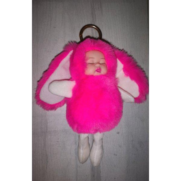 Schlüssel -/Taschenanhänger schlafende Plüsch Kinder mit langen Ohren, rosa NEU