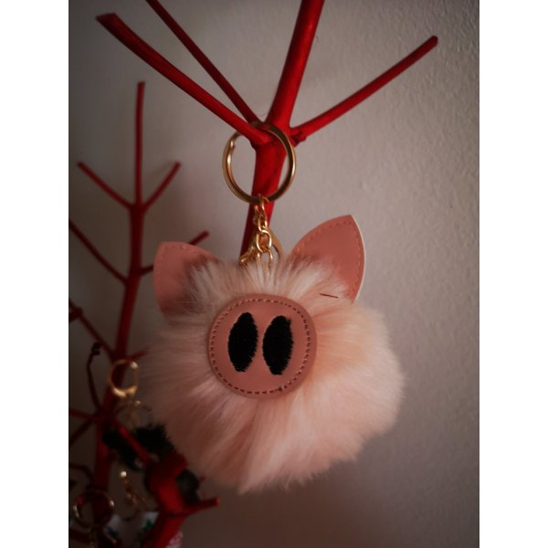 Schlüssel-/Taschenanhänger  Schwein, Plüschschwein, rosa golden NEU