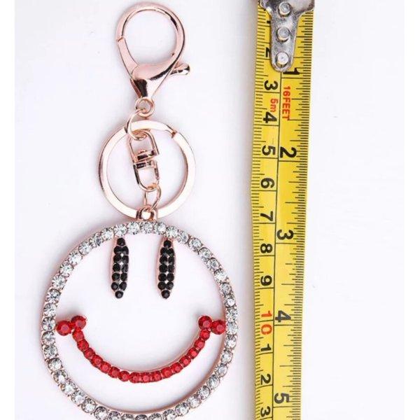 Schlüssel-/Taschenanhänger Smiley, Metall, Straß NEU