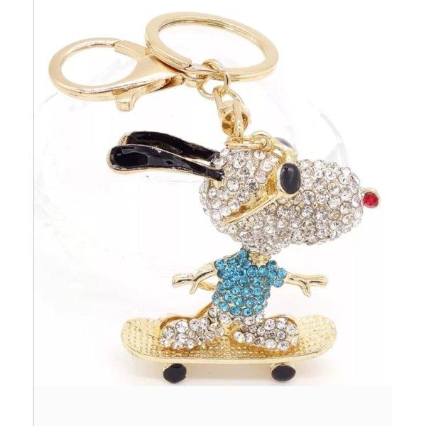 Schlüssel-/Taschenanhänger Snoopy blau Strass glitzer, neu