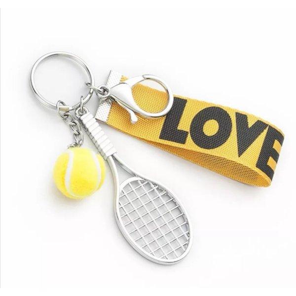 Schlüssel-/Taschenanhänger Tennis, Tennisschläger, Ball, LOVE, gelb silber schwarz NEU