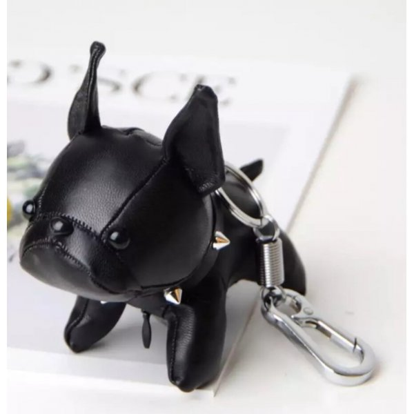 Schlüssel-/Taschrnanhänger Bulldogge groß, schwarz, Kunstleder NEU