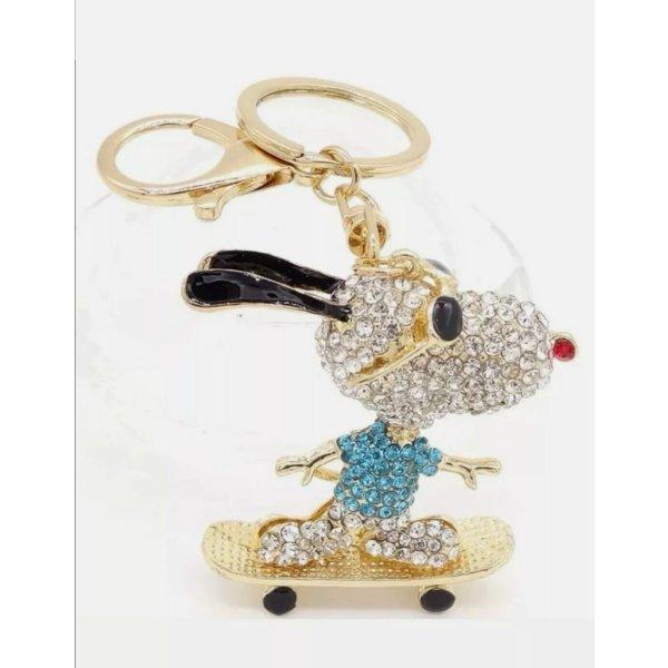 Schlüssel-/Taschrnanhänger Snoopy, blau, Strass NEU