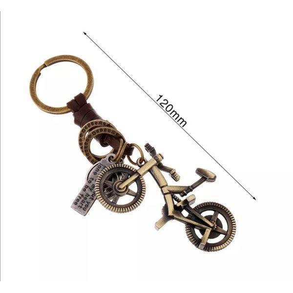 Schlüsselanhänger Fahrrad aus Metall (messingfarben) und Leder *NEU*/ Männer und Frauen mit beweglichem Lenker
