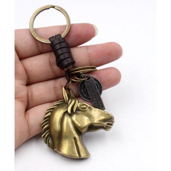 Schlüsselanhänger Pferdekopf aus Metall (messingfarben) und Leder NEU