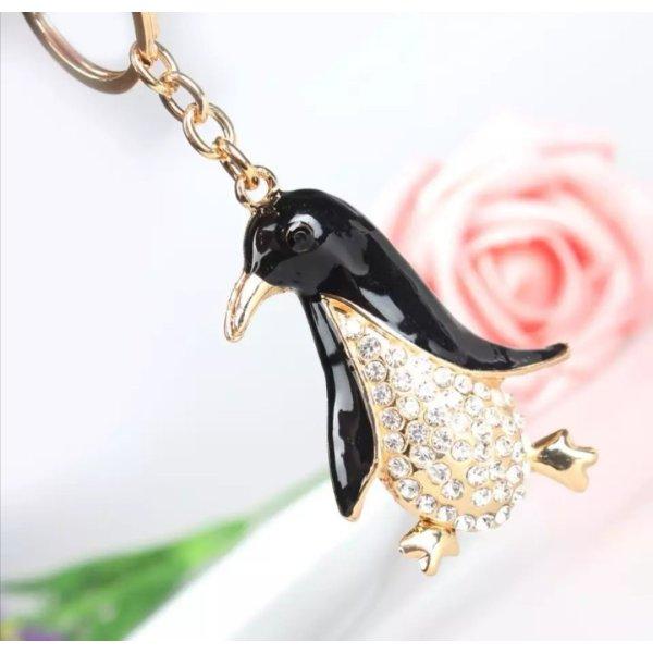 Schlüsselanhänger Pinguin, Metall, Strass NEU