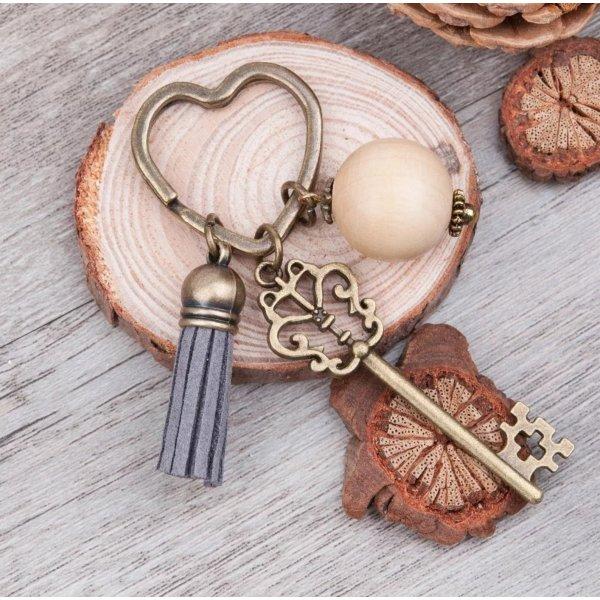 Schlüsselanhänger *retro Schlüssel*  mit Perle aus Metall  NEU