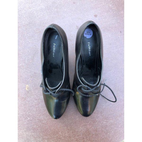 Schnür pumps schwarz Leder