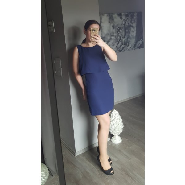 Schönes dunkelblaues Kleid von H&M Gr 34 - Volant Schößschen Jugendweihe Firmung Minikleid