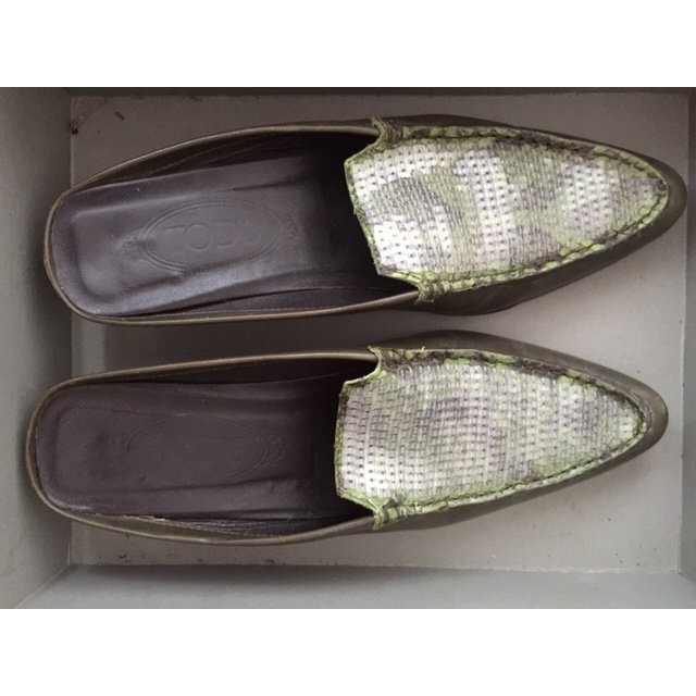 Tod's Mules olive green-green grey leather