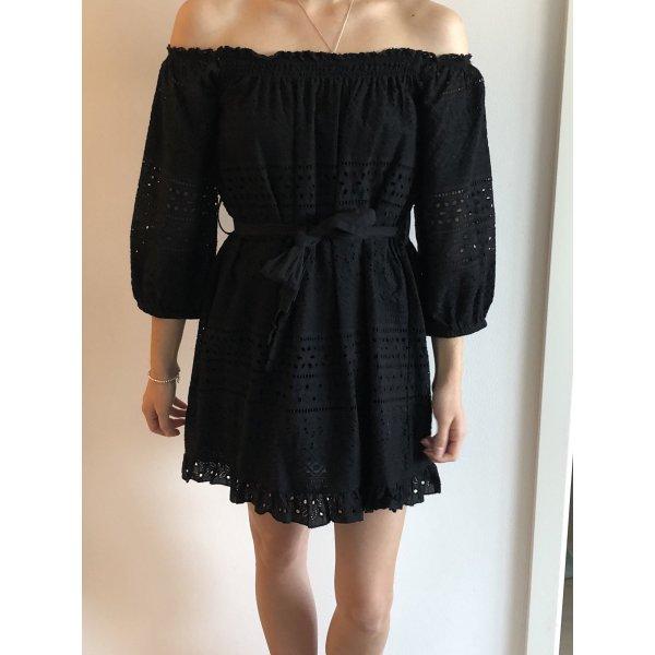 Schulterfreies Langarm Kleid in Schwarz