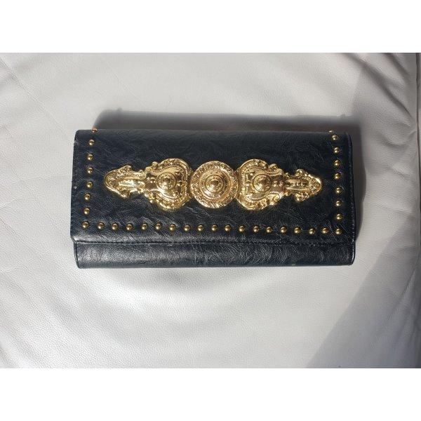 Schwarz-Goldene Kunstlederclutch (Gina Tricot)