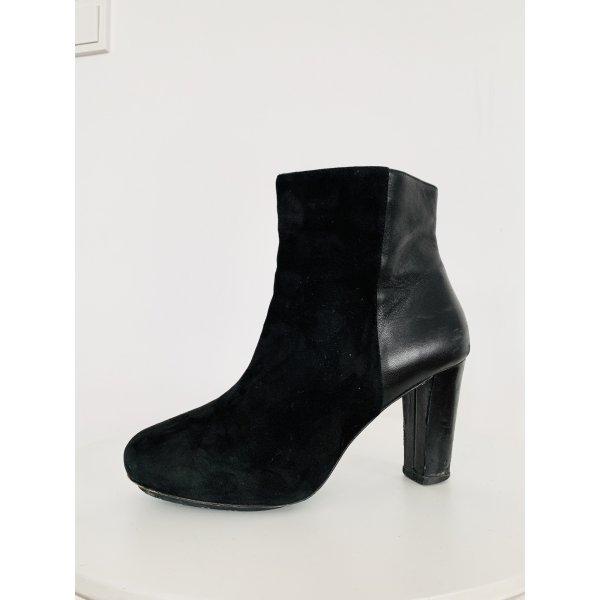 Schwarze Ankle boots Leder Vero Cuoio Velours mix Halbstiefel /Stiefeletten Gr. 38