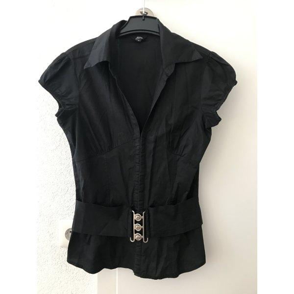 Schwarze Blusenweste mit Gürtel