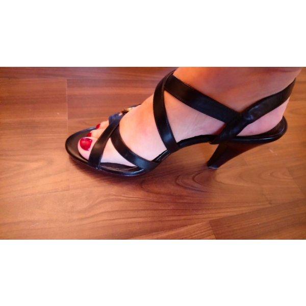 Schwarze Riemchen Leder Sandaletten