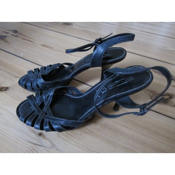Schwarze Riemchen Sandaletten Leder 41
