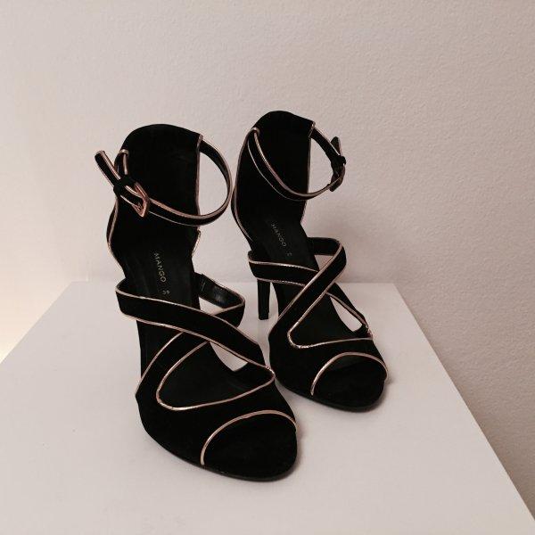 Mango High-Heeled Sandals black-gold-colored
