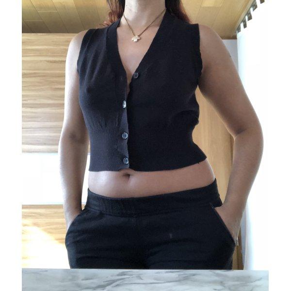 Schwarze Weste/Pullunder,Kurze Strickweste One Size