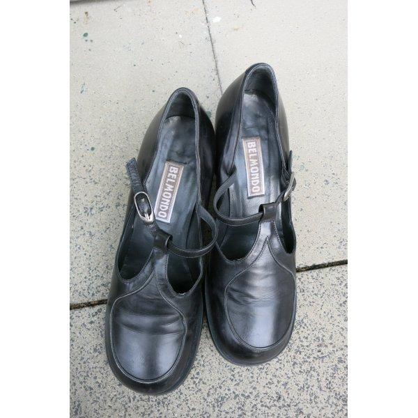 Belmondo Zapatos de tacón con barra en T negro Cuero