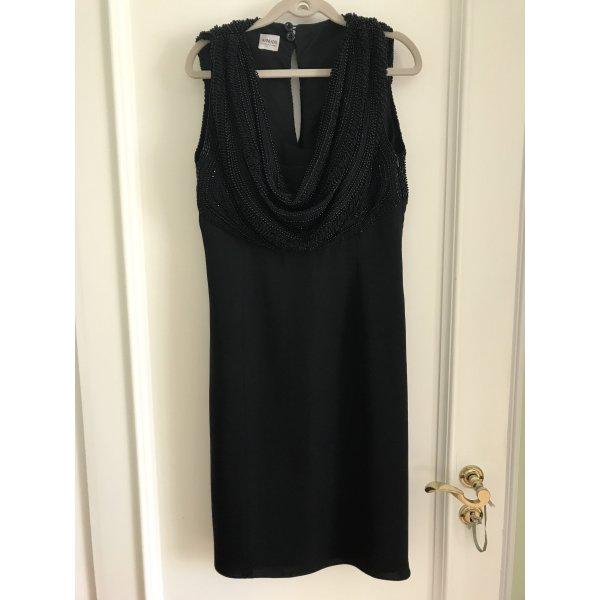 Schwarzes Armani Abendkleid Cocktailkleid mit Perlen