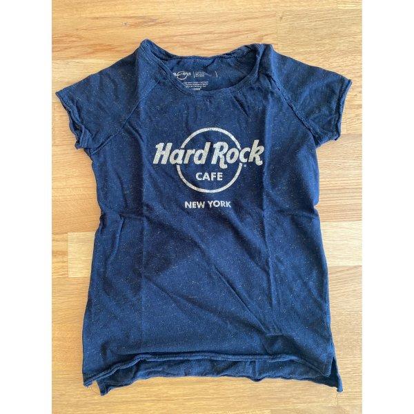 Schwarzes Hard Rock Café Shirt aus New York mit goldenen Details