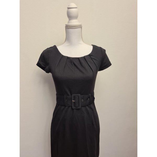 Schwarzes Kleid mit Gürtel kurzarm von H&M Gr. 36