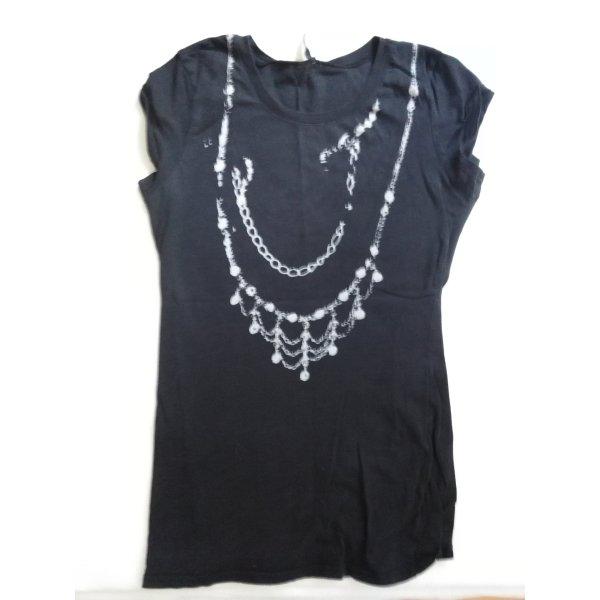 Schwarzes T-Shirt mit weißem Ketten-Aufdruck im Used-Look