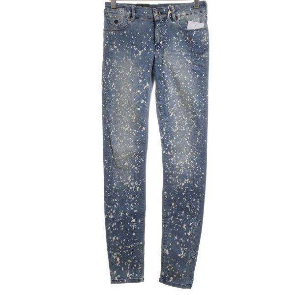 Scotch & Soda Skinny Jeans kornblumenblau-weiß abstraktes Muster Jeans-Optik