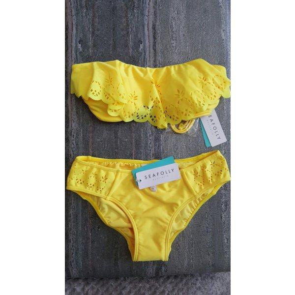 Seafolly Bikini gelb *NEU* mit Ananas cut out gr. 34