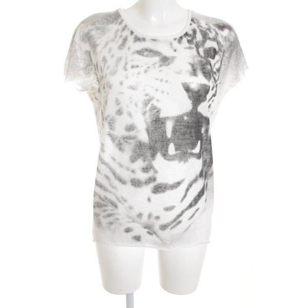 Second Female T-shirt bianco-grigio scuro motivo astratto