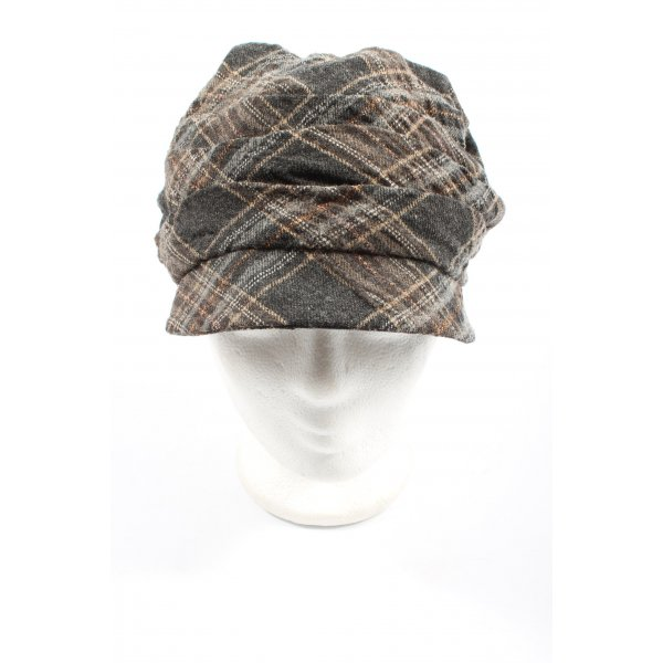 Seeberger Baker's Boy Cap brown-light grey allover print casual look