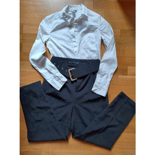 SET: 2 Hemden & Businesshose mit Gürtel [Weiß-Schwarz, Gr. XS]