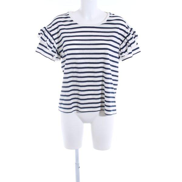 Set Ringelshirt weiß-dunkelblau Streifenmuster Casual-Look