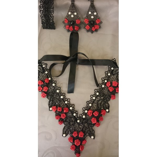 SET: ShuShum Vintage Statement-Kette Red Roses & Black Lace Handmade Piece of Art