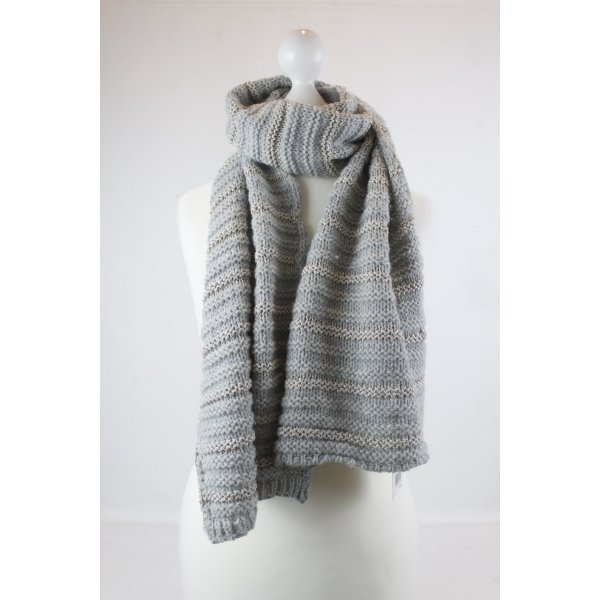 Set Knitted Scarf silver-colored-dark grey mixture fibre