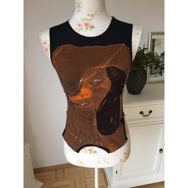 Sexy elegant Custo Barcelona Shirt, T-Shirt, Oberteil in XS Braun Schwarz