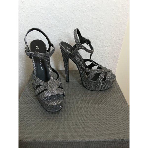 sexy grau silberne Strass High Heels - neu!