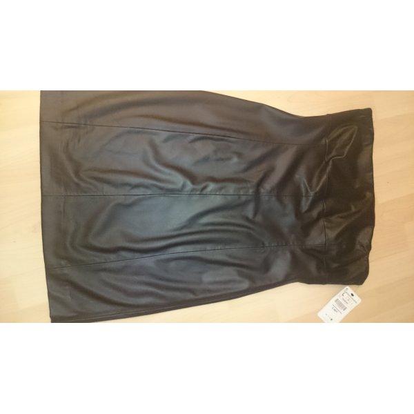 Zara Vestido bustier negro-color oro Imitación de cuero