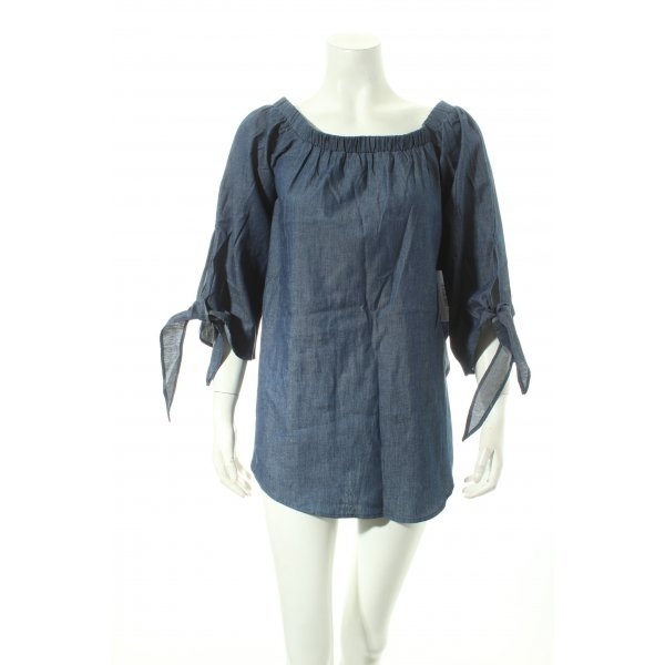 SheIn Carmen-Bluse blau Street-Fashion-Look