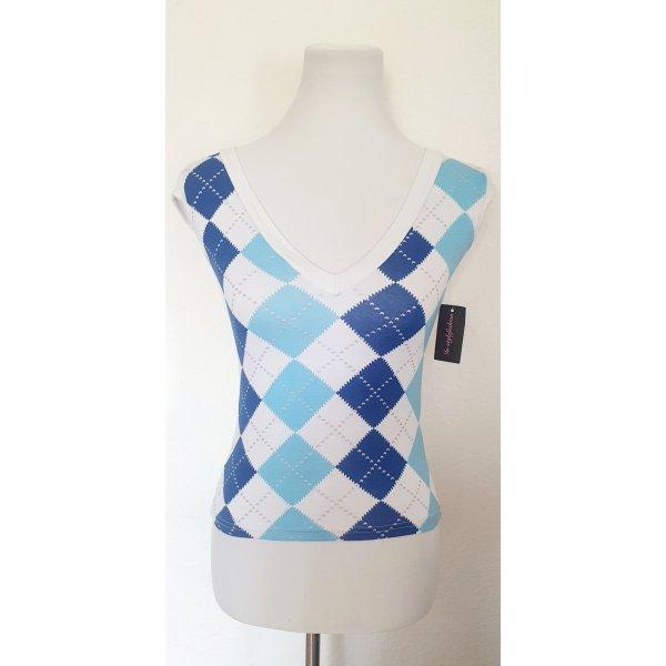 Shirt kariert blau weiss Rauten Muster und Glitzer Gr 36