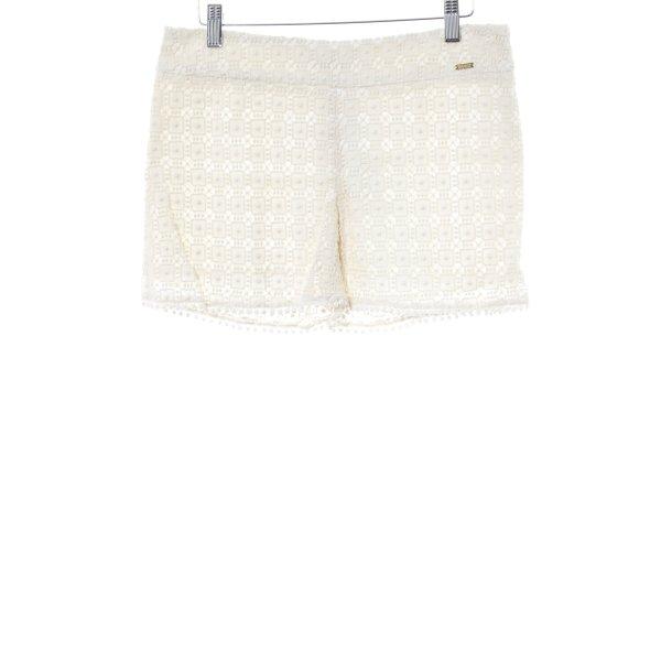 Shorts creme Lochstrickmuster Beach-Look