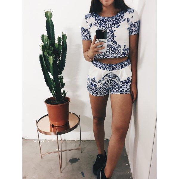 Shorts weiß-blau florales Muster extravaganter Stil