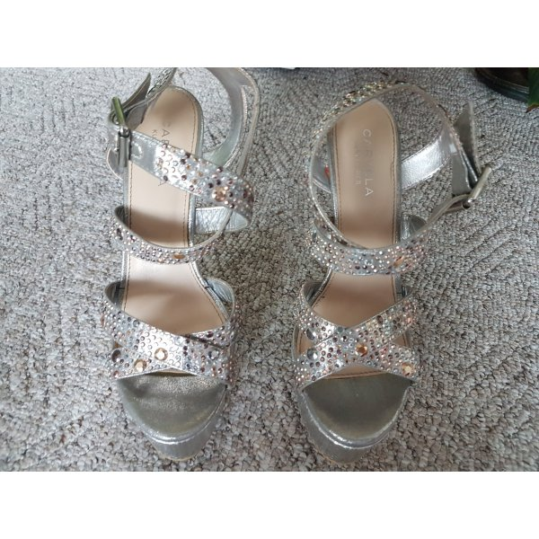 Carvela Platform High-Heeled Sandal silver-colored leather
